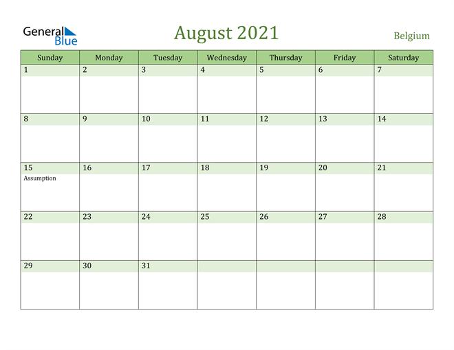 August 2021 Calendar with Belgium Holidays