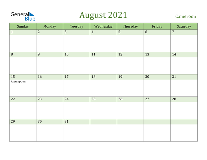 August 2021 Calendar with Cameroon Holidays