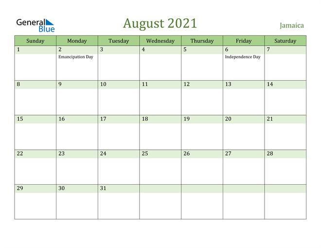 August 2021 Calendar with Jamaica Holidays