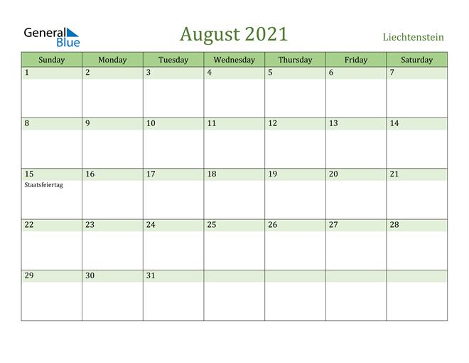 Image of August 2021 Cool and Relaxing Green Calendar Calendar
