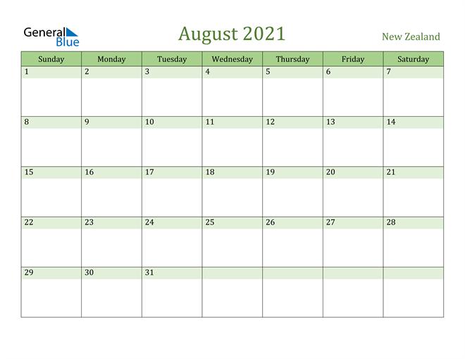 August 2021 Calendar with New Zealand Holidays