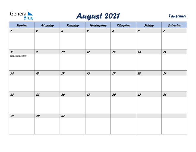 Image of August 2021 Italicized and Cool Blue, A Fun Calendar in PDF, Word and Excel Calendar