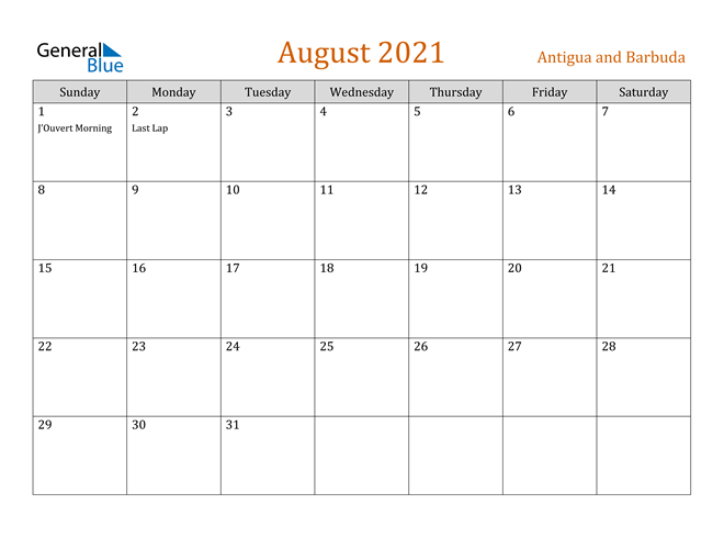 Image of August 2021 Contemporary Orange PDF, Word and Excel Calendar Calendar