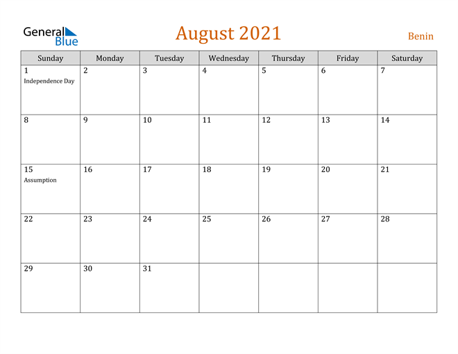 August 2021 Holiday Calendar