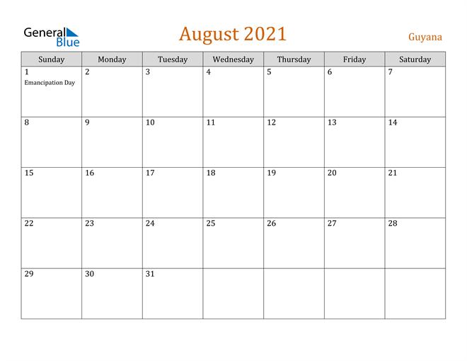 Image of August 2021 Contemporary Orange PDF, Word and Excel Calendar Calendar