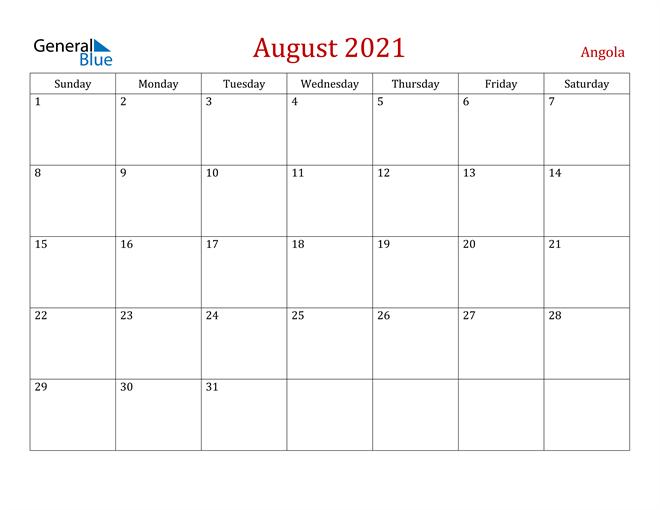 Angola August 2021 Calendar