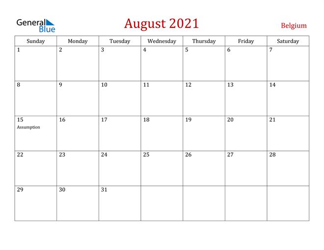 Belgium August 2021 Calendar