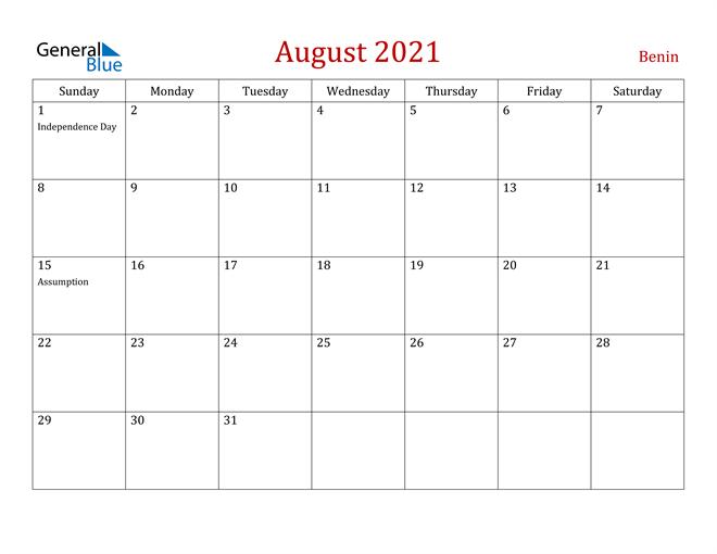 Benin August 2021 Calendar