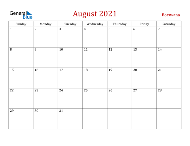 Botswana August 2021 Calendar