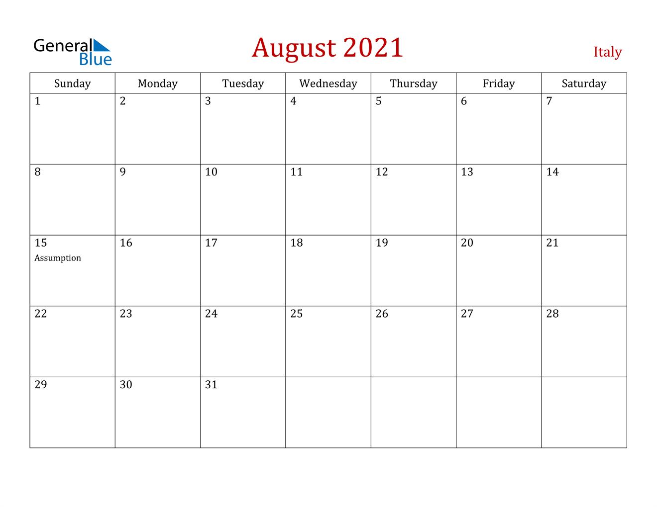 August 2021 Calendar - Italy