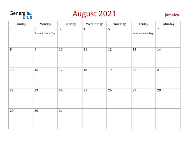 Jamaica August 2021 Calendar