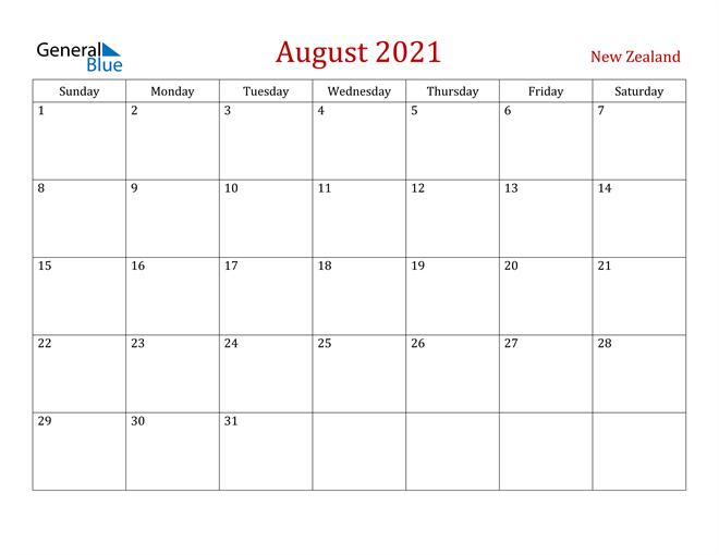 New Zealand August 2021 Calendar