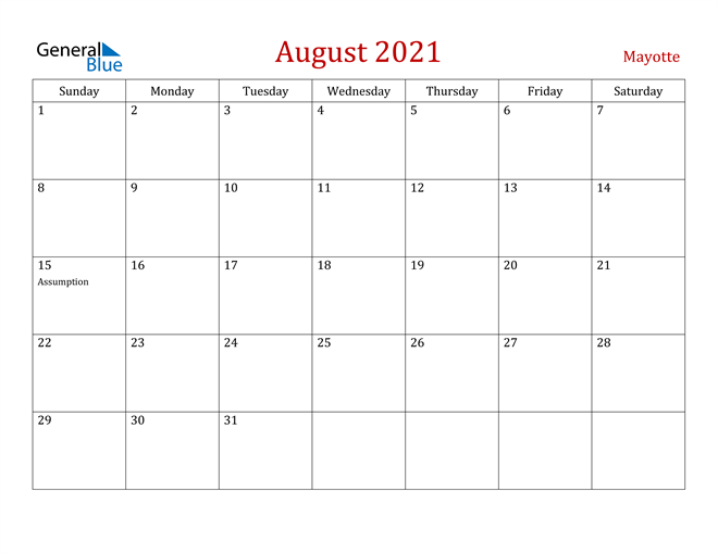 Image of August 2021 Dark and Red Professional Office Calendar Calendar