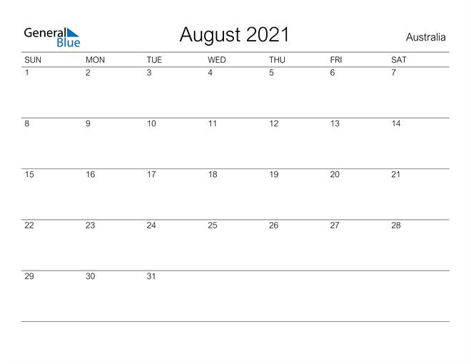 Image of August 2021 A Streamlined Design, The Perfect Printable Calendar. Calendar