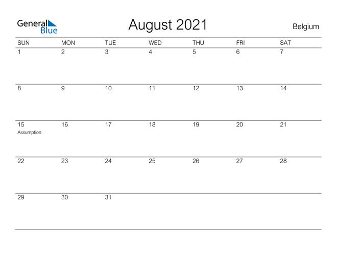 Printable August 2021 Calendar for Belgium