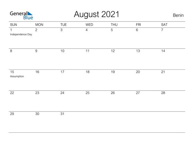 Printable August 2021 Calendar for Benin