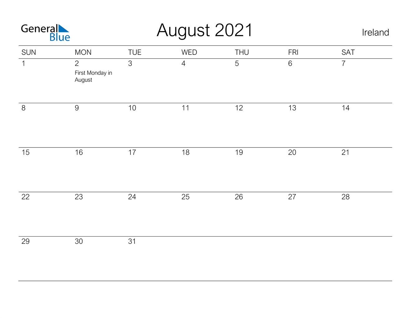 August 2021 Calendar - Ireland