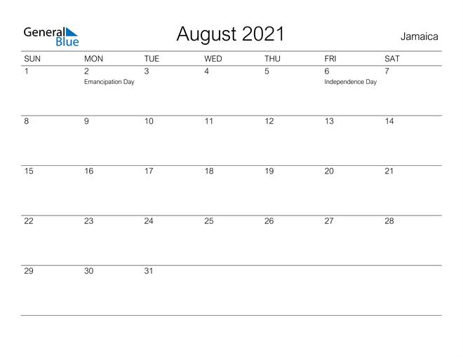 Printable August 2021 Calendar for Jamaica