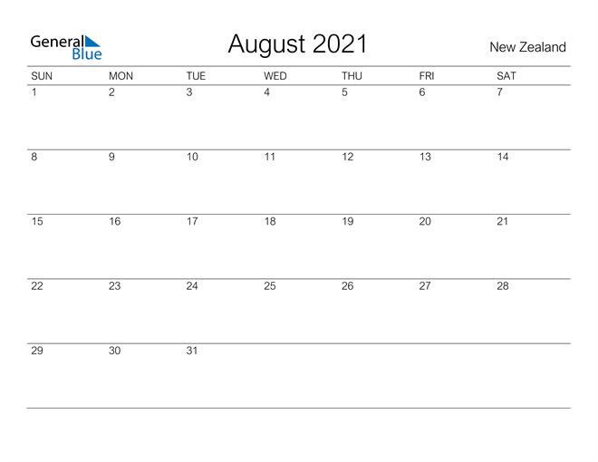 Printable August 2021 Calendar for New Zealand