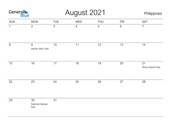 Image of August 2021 A Streamlined Design, The Perfect Printable Calendar. Calendar