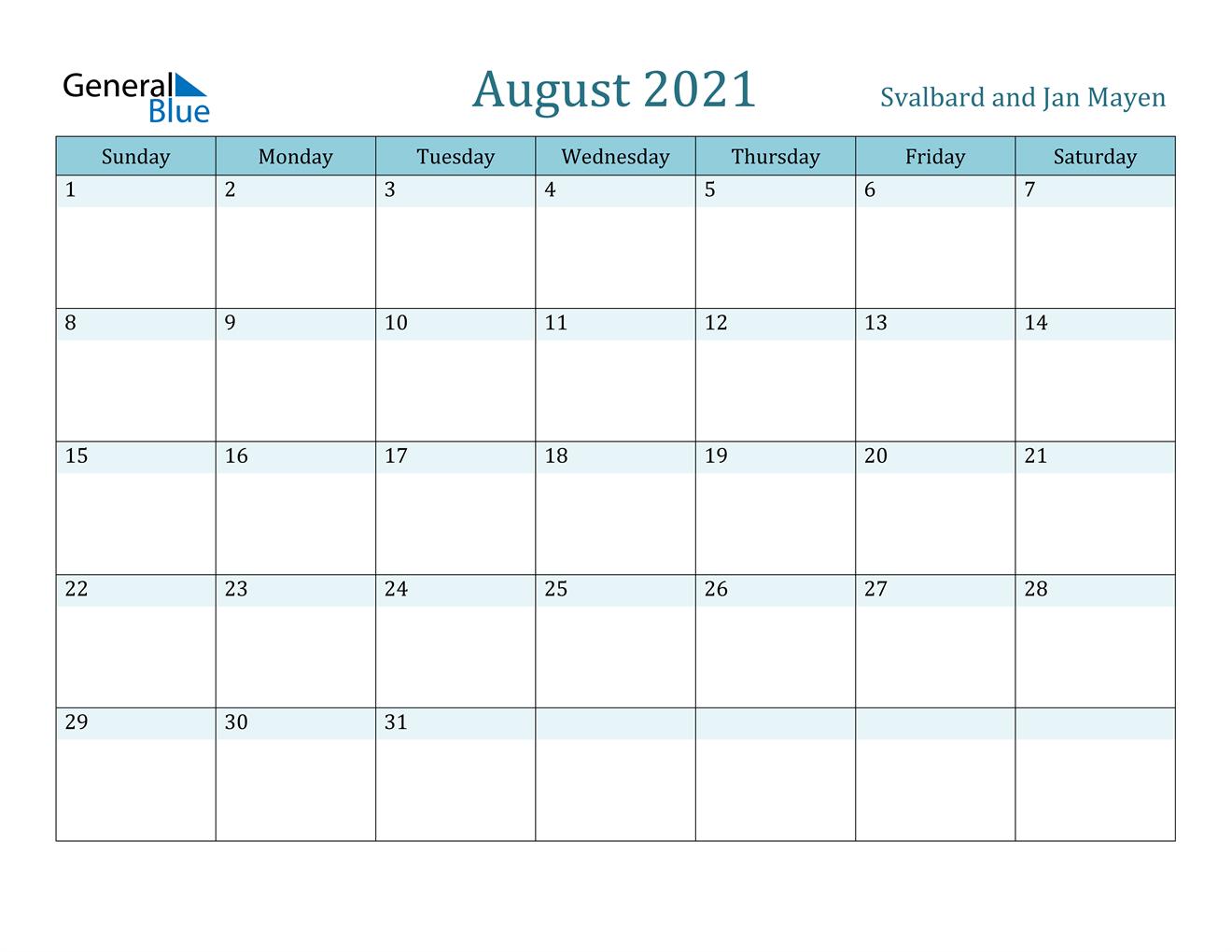 August 2021 Calendar - Svalbard and Jan Mayen