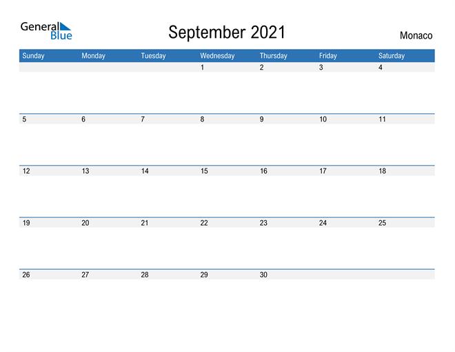 Fillable September 2021 Calendar