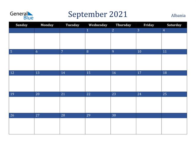 September 2021 Albania Calendar