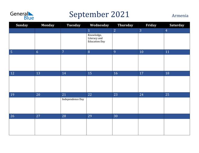 September 2021 Armenia Calendar