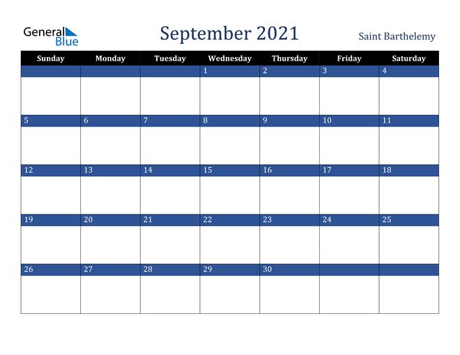 September 2021 Saint Barthelemy Calendar