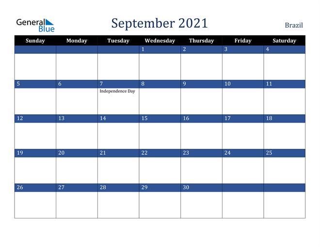 September 2021 Brazil Calendar