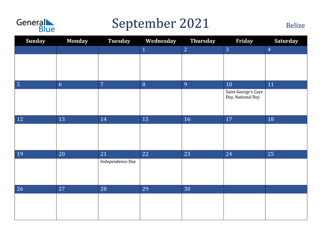Image of September 2021 Stylish Dark Blue Calendar in PDF, Word and Excel Calendar