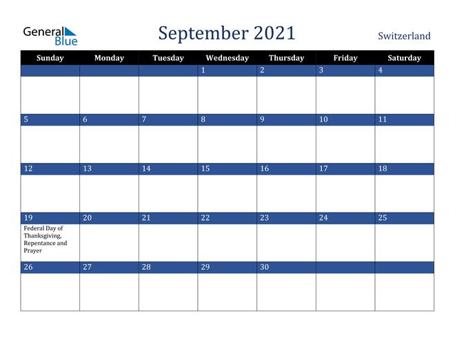 September 2021 Switzerland Calendar