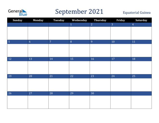 September 2021 Equatorial Guinea Calendar