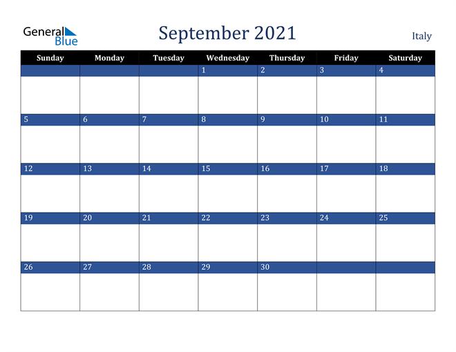 September 2021 Italy Calendar