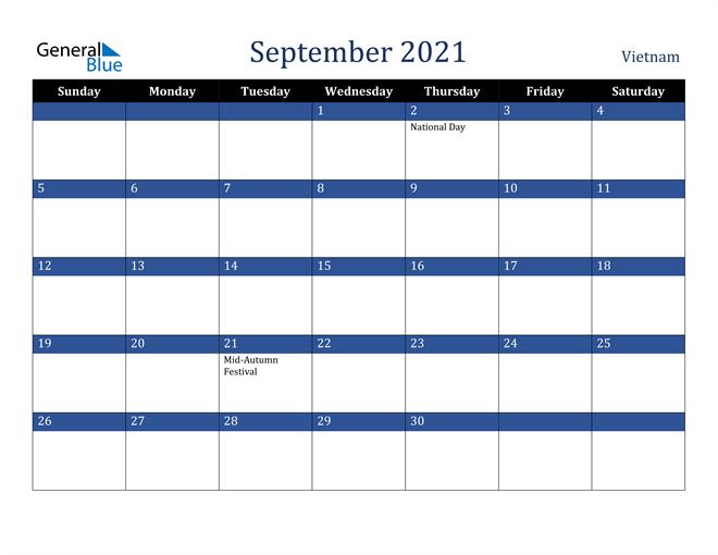 September 2021 Vietnam Calendar