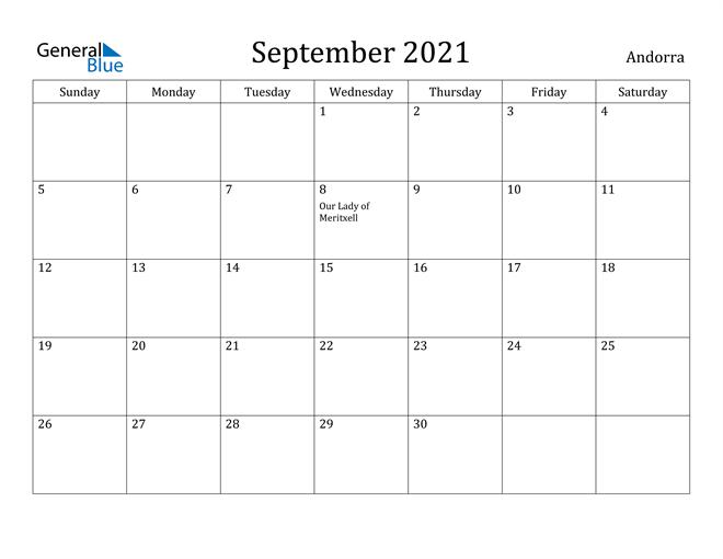 Image of September 2021 Andorra Calendar with Holidays Calendar