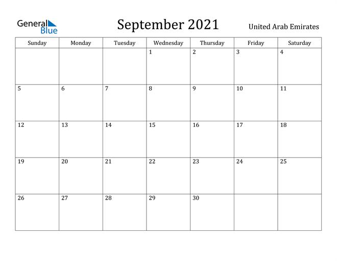 Image of September 2021 United Arab Emirates Calendar with Holidays Calendar