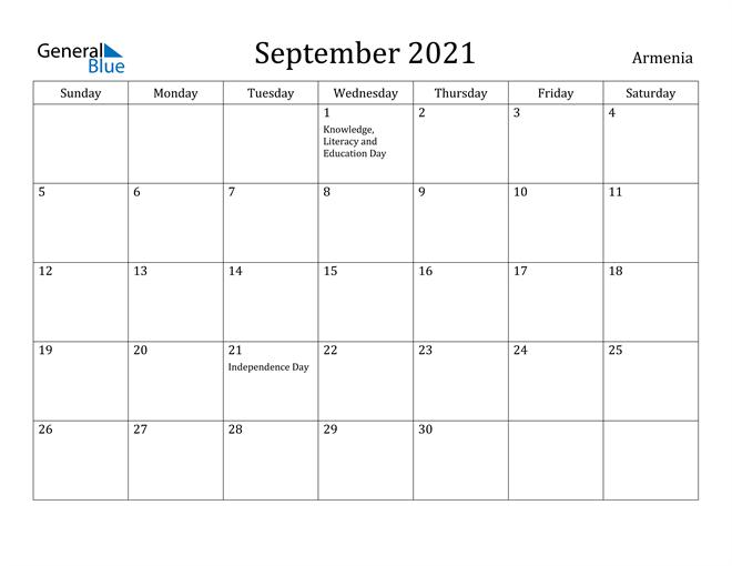 Image of September 2021 Armenia Calendar with Holidays Calendar