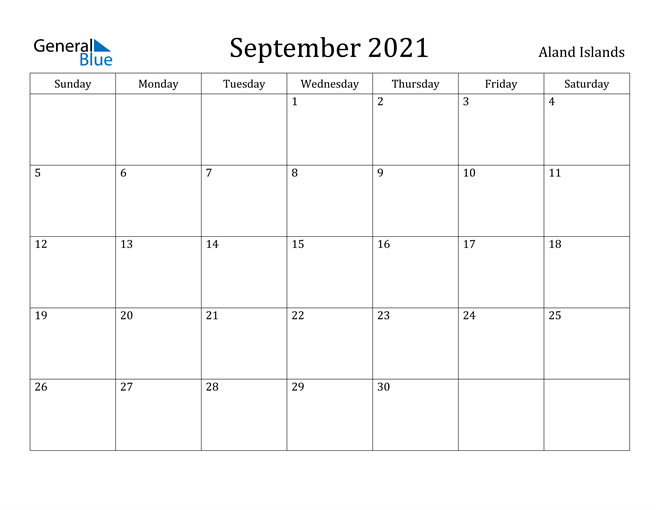 Image of September 2021 Aland Islands Calendar with Holidays Calendar
