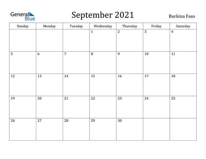Image of September 2021 Burkina Faso Calendar with Holidays Calendar