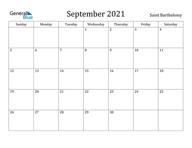 September 2021 Calendar Saint Barthelemy