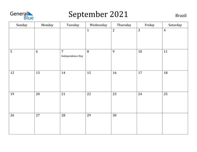 September 2021 Calendar - Brazil