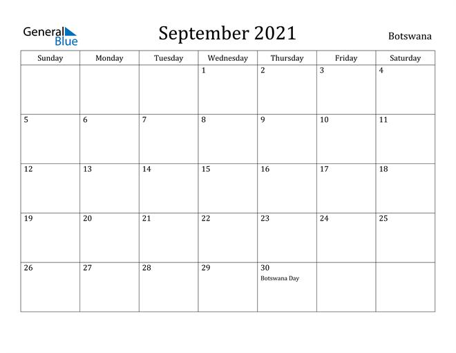 Image of September 2021 Botswana Calendar with Holidays Calendar