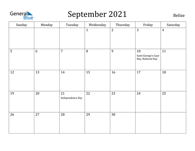 Image of September 2021 Belize Calendar with Holidays Calendar