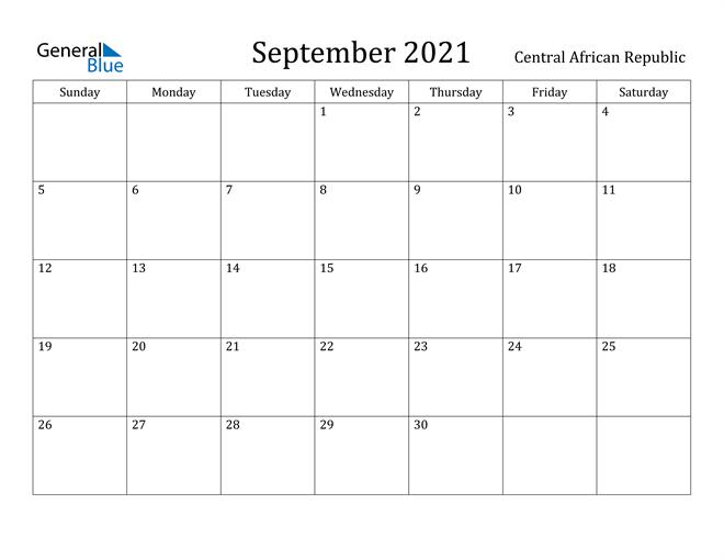 Image of September 2021 Central African Republic Calendar with Holidays Calendar