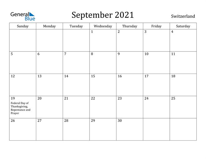 Image of September 2021 Switzerland Calendar with Holidays Calendar