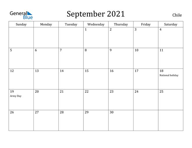 Image of September 2021 Chile Calendar with Holidays Calendar
