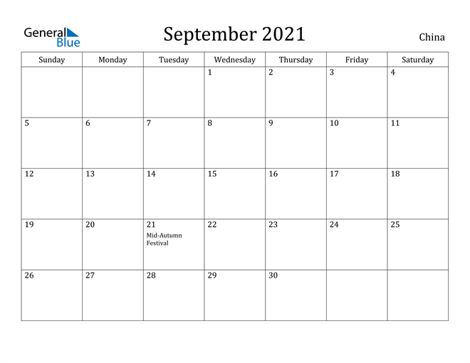 Image of September 2021 China Calendar with Holidays Calendar