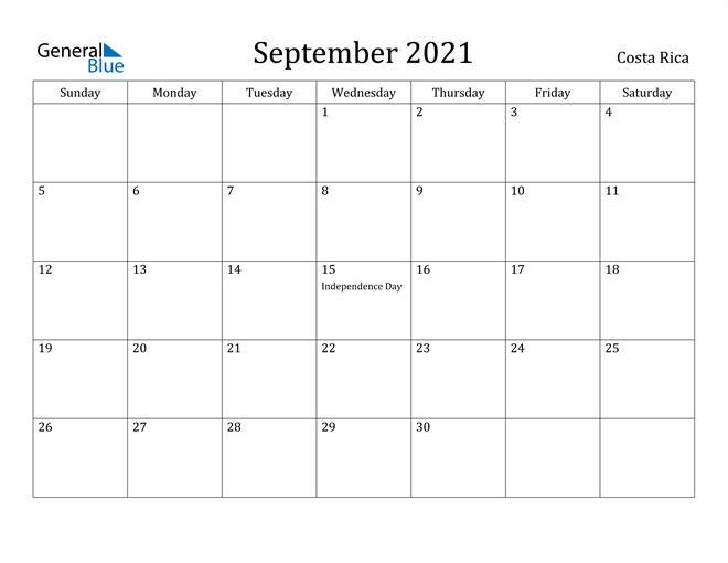 Image of September 2021 Costa Rica Calendar with Holidays Calendar
