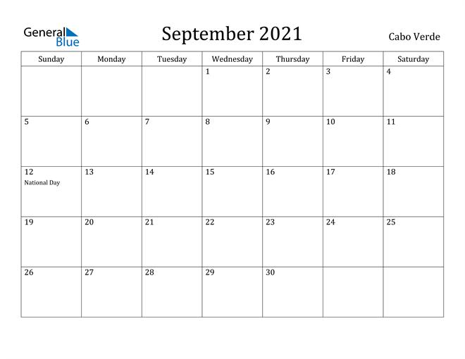 Image of September 2021 Cabo Verde Calendar with Holidays Calendar